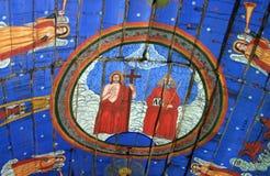 古老墙壁上的壁画在罗马尼亚 免版税库存图片