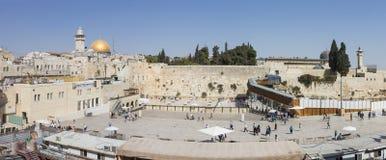 古老墙壁的残余全景在耶路撒冷,以色列 免版税图库摄影