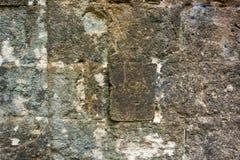 古老墙壁的纹理从一块石砖的 免版税库存照片