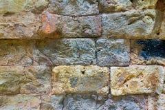 古老墙壁的纹理从一块石砖的 图库摄影