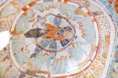 古老壁画在Agacalti Kilise,卡帕多细亚,土耳其 库存照片