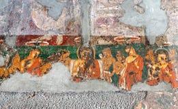 古老壁画在Ajanta陷下,印度 库存图片