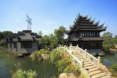 古老大厦在中国庭院里 库存照片