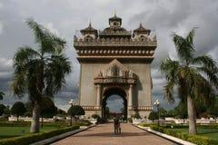古老大厦在老挝 库存照片