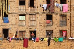 古老大厦场面在尼泊尔 图库摄影