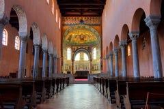古老大教堂克罗地亚porec 库存图片