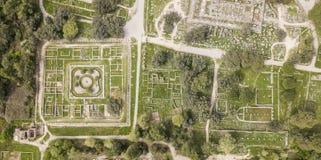 古老奥林匹亚鸟瞰图,一个圣所在伯罗奔尼撒半岛的伊利亚州 免版税库存照片