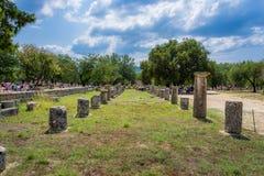 古老奥林匹亚,希腊废墟  库存照片
