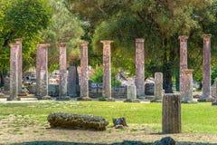 古老奥林匹亚,希腊废墟  免版税库存图片