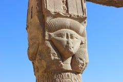 古老女神Hathor的图象Dendera的 免版税图库摄影