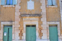 古老学校在南法国 库存照片
