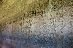 古老宗教的高棉宗教标志细节在壁画的在寺庙吴哥窟 免版税库存图片