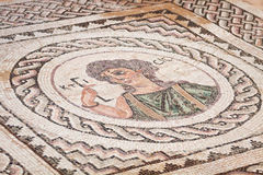 古老宗教马赛克在Kourion,塞浦路斯 免版税库存图片