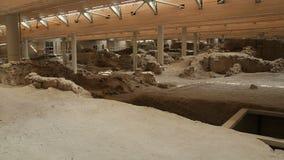 古老定居点废墟Akrotiri村庄保存站点的在希腊 股票录像