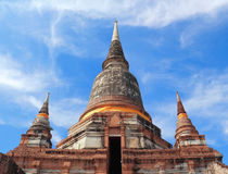 古老寺庙(Wat亚伊柴Mongkhol), Ayutthaya 免版税图库摄影