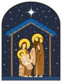古老小雕象诞生场面集 圣洁家庭和圣诞节星 向量例证