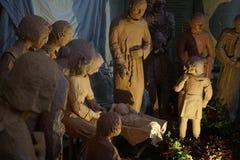 古老小雕象诞生场面集 免版税图库摄影