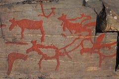 古老岩石绘画在Naesaaker ins瑞典中 免版税图库摄影