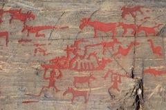 古老岩石绘画在Naesaaker ins瑞典中 库存照片
