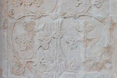 古老工艺装饰品白色石雕刻的纹理样式 库存照片
