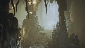 古老巨大的幻想洞充满古老蘑菇和不可思议的雾与尘土3D翻译 库存例证