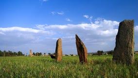 古老巨石stela领域在AxumEthiopia 库存图片