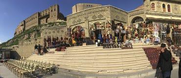 古老市场和城堡在阿尔贝拉,伊拉克 免版税图库摄影