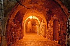 古老市耶路撒冷在晚上 图库摄影
