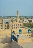 古老市Khiva,乌兹别克斯坦的全景 库存图片