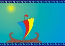 古老希腊船剪影 免版税库存照片