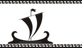 古老希腊船剪影 免版税图库摄影