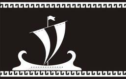 古老希腊船剪影 免版税库存图片