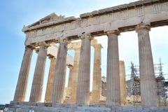 古老帕台农神庙上城在雅典希腊 免版税库存图片