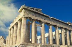 古老帕台农神庙,在上城的希腊寺庙 葡萄酒颜色 免版税库存照片