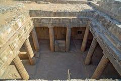 古老废墟在塞浦路斯的帕福斯 免版税库存照片