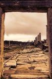 古老废墟在日落的Perge土耳其 库存图片
