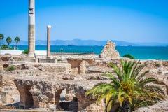古老废墟在迦太基,突尼斯和地中海 免版税图库摄影