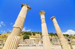 古老废墟在以弗所,土耳其 免版税图库摄影