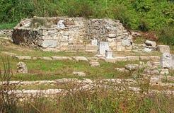 古老废墟在Dion,希腊 免版税图库摄影