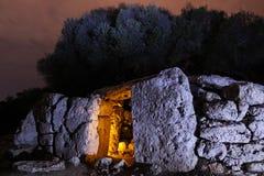 古老废墟夜照片 免版税库存图片