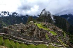古老废墟的部分在马丘比丘的在秘鲁 免版税图库摄影