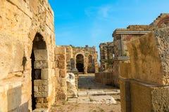 古老废墟罗马帝国, sity边,土耳其美丽的景色, 库存照片
