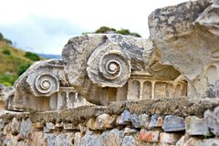 古老废墟详细资料在Ephesus的 库存图片