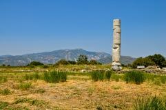 古老废墟,赫拉神庙,萨莫斯岛,希腊 免版税库存图片