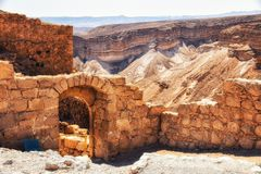 古老废墟,马萨达,死海,以色列 免版税库存照片