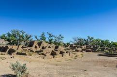 古老废墟-阿兹台克人破坏国家历史文物-阿兹台克人, NM 免版税库存照片