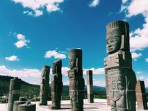 古老废墟 Toltec战士 墨西哥,图拉de亚伦得 免版税库存图片