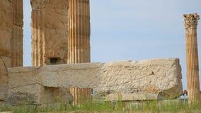 古老建筑学,寺庙废墟,希腊全国遗产的历史的纪念碑 股票录像