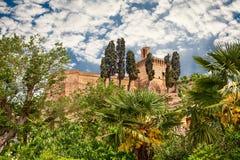 古老意大利城堡在梅尔多拉,伊米莉亚罗马甘,意大利 图库摄影