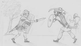古老战争罗马对Dacians 库存照片